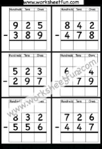 3 digit borrow subtraction regrouping 4 worksheets math 3 digit borrow subtraction regrouping 4 worksheets ibookread Download