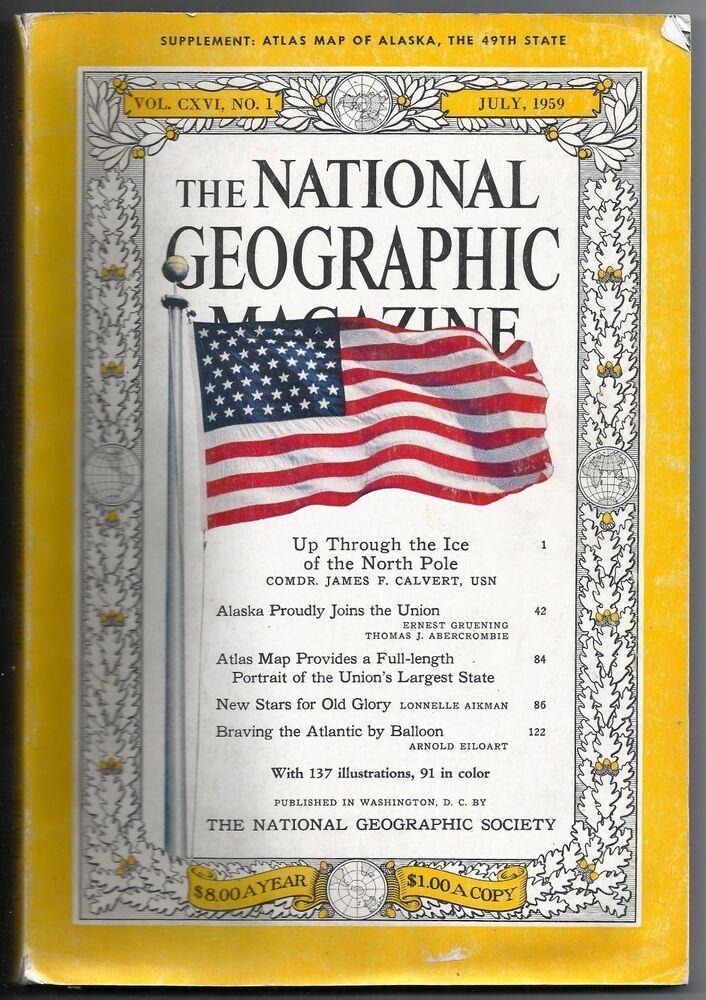 Vintage July 1959 National Geographic Magazine Book Alaska