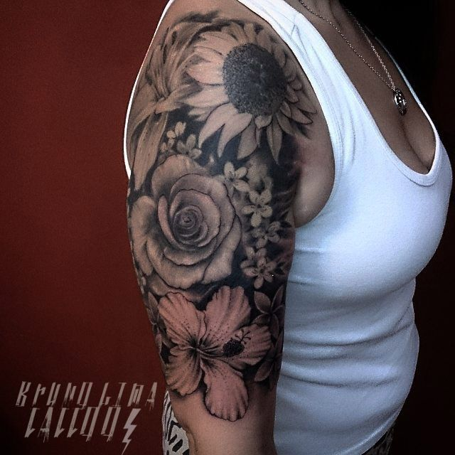 Flowers Tattoo Sleeve Tattoos For Women Quarter Sleeve Tattoos Half Sleeve Tattoos Color