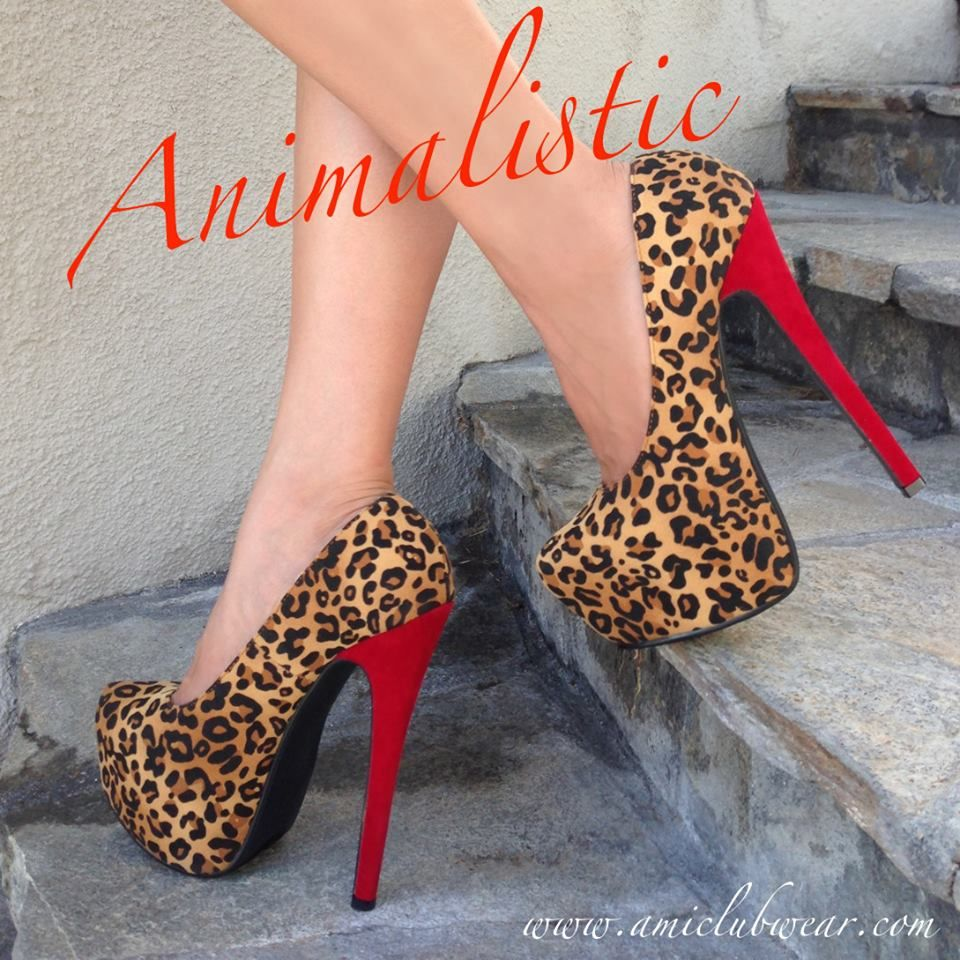 Leopard Faux Suede Pump Heels at ILoveCuteShoes.com