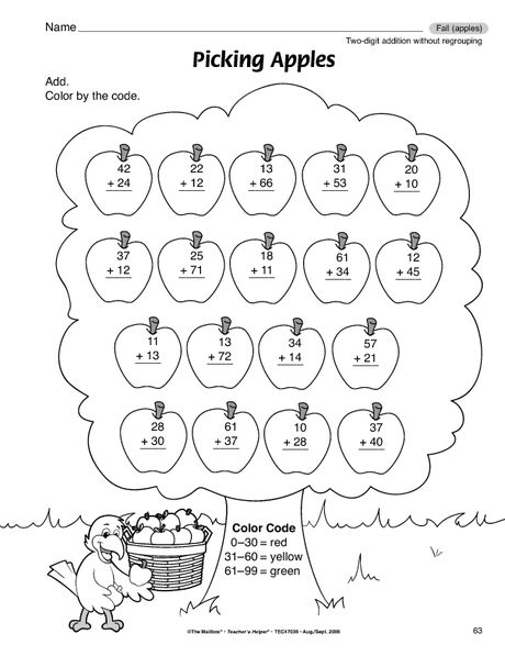 Math Worksheet: 2-digit addition without regrouping