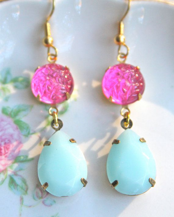 Mint Green and Pink Rhinestone Textured Brass Gold by heathernn1, $26.00