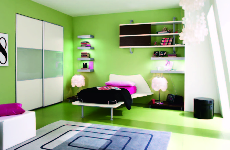 Genial Green Walling Unit Idea Applied In Youth Bedroom Furntiure With White  Curtain Design FInished With Green Floor And Grey Rug Design Idea