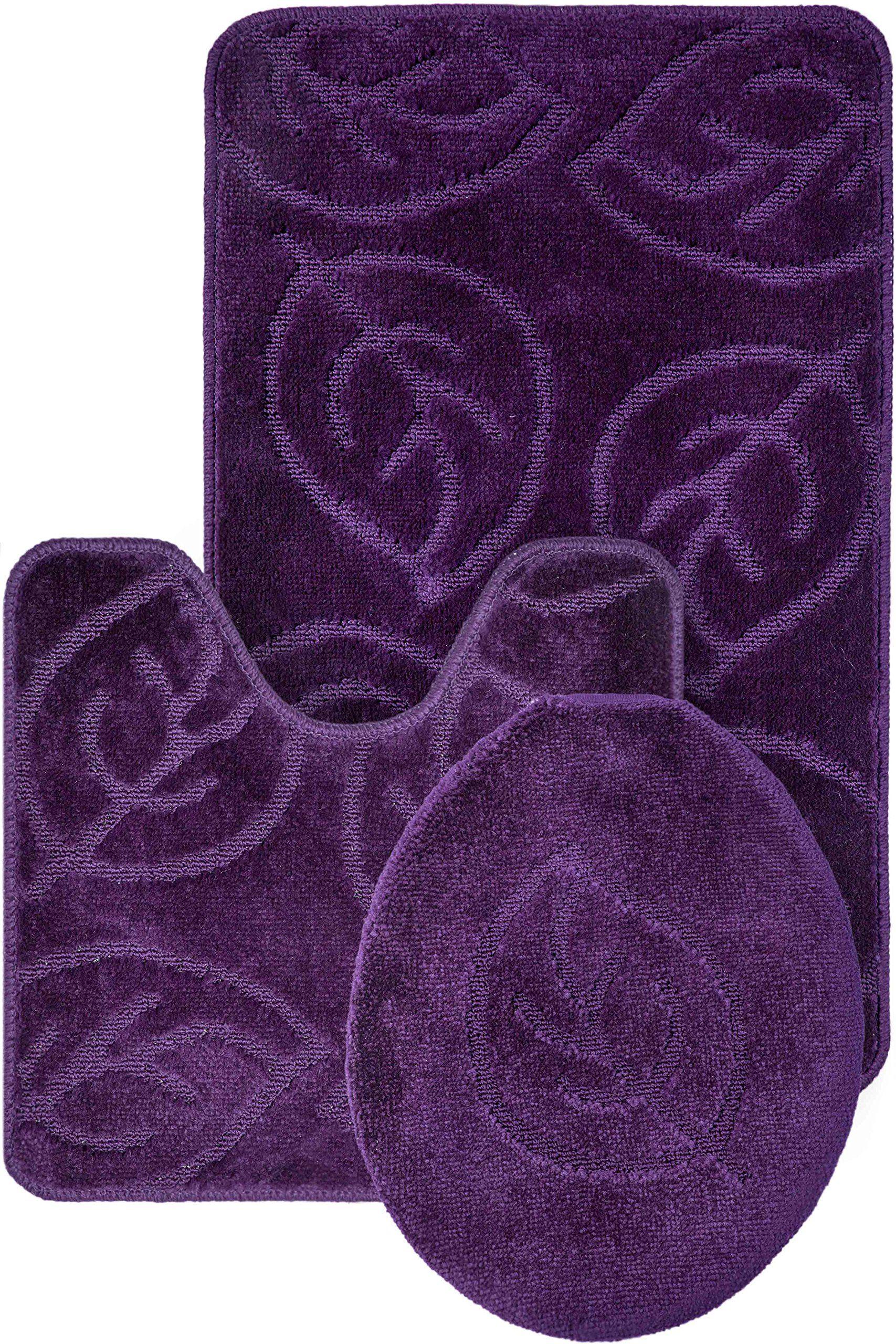 Everdayspecial Purple Bath Set Leaf Pattern Bathroom Rug 18x29 Contour Mat 18x19 Lid Cover 18x18 Soft An Patterned Bathroom Rugs Bathroom Rugs Purple Bathrooms [ 2560 x 1707 Pixel ]