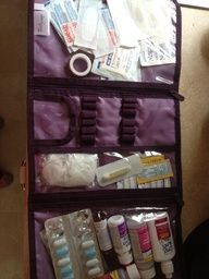 thirty-one gifts timeless beauty bag makes a great first aid kit.     please visit my website at   www.mythirtyone.com/suesmithmarks