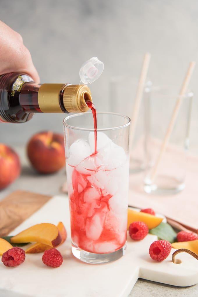 Raspberry Peach Italian Cream Sodas