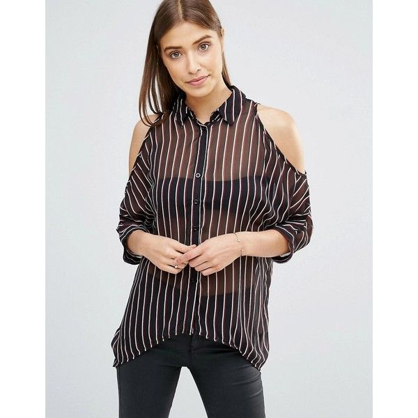 73405eed17959 AX Paris Pinstripe Cold Shoulder Shirt ( 30) ❤ liked on Polyvore featuring  tops
