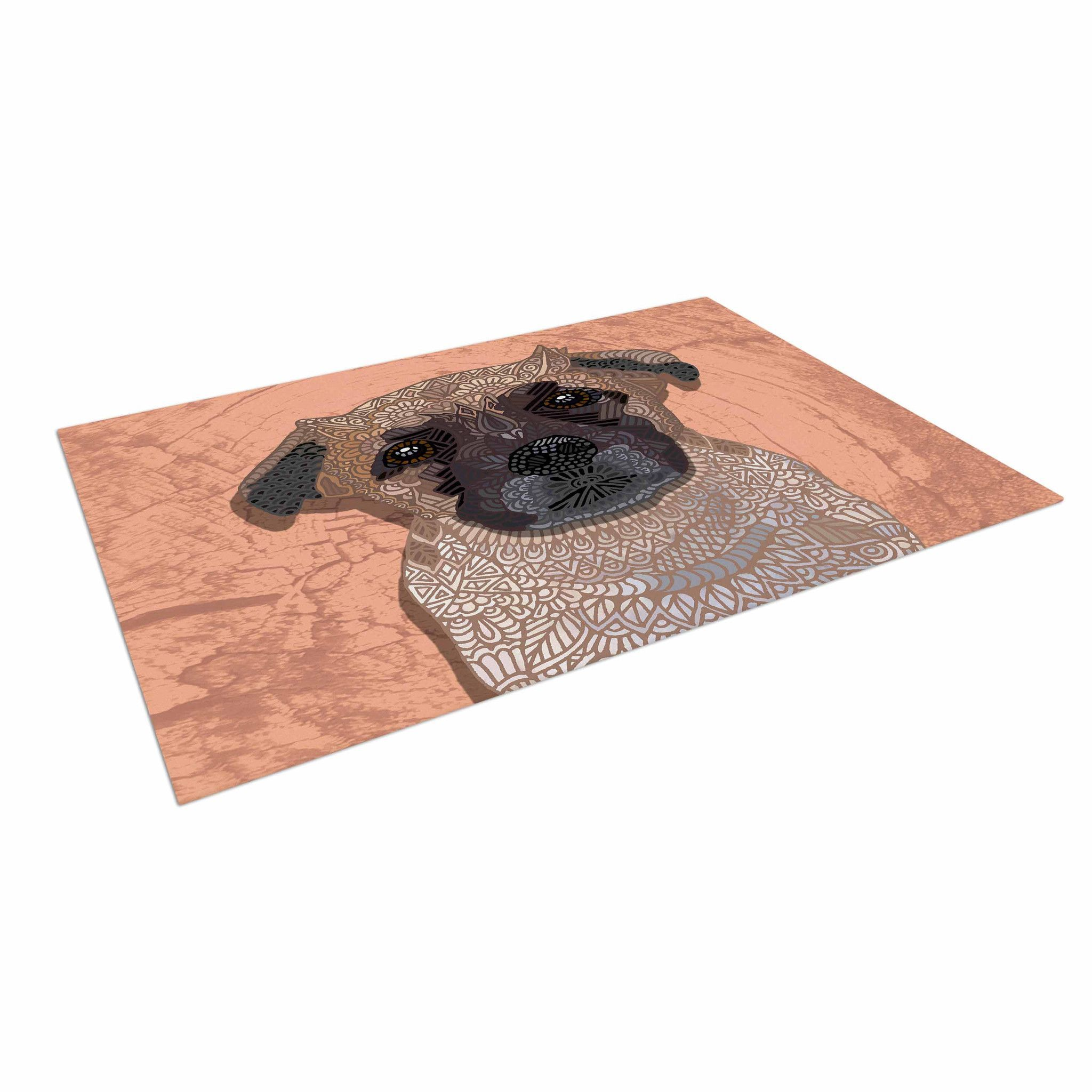 "Art Love Passion ""Mr Milo"" Brown Beige Indoor Outdoor Floor Mat"