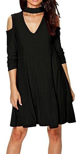 7aabc9c1070b4 Longwu Womens Long Sleeve Casual Halter Strapless V Neck Loose Dress Black-L