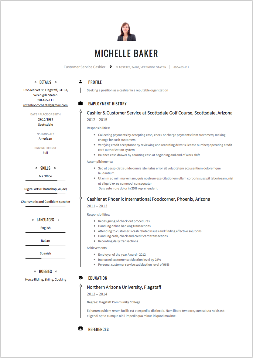 Cashier Resume Sample Example Template Creative Cv Resume Examples Resume Guide Free Resume Examples