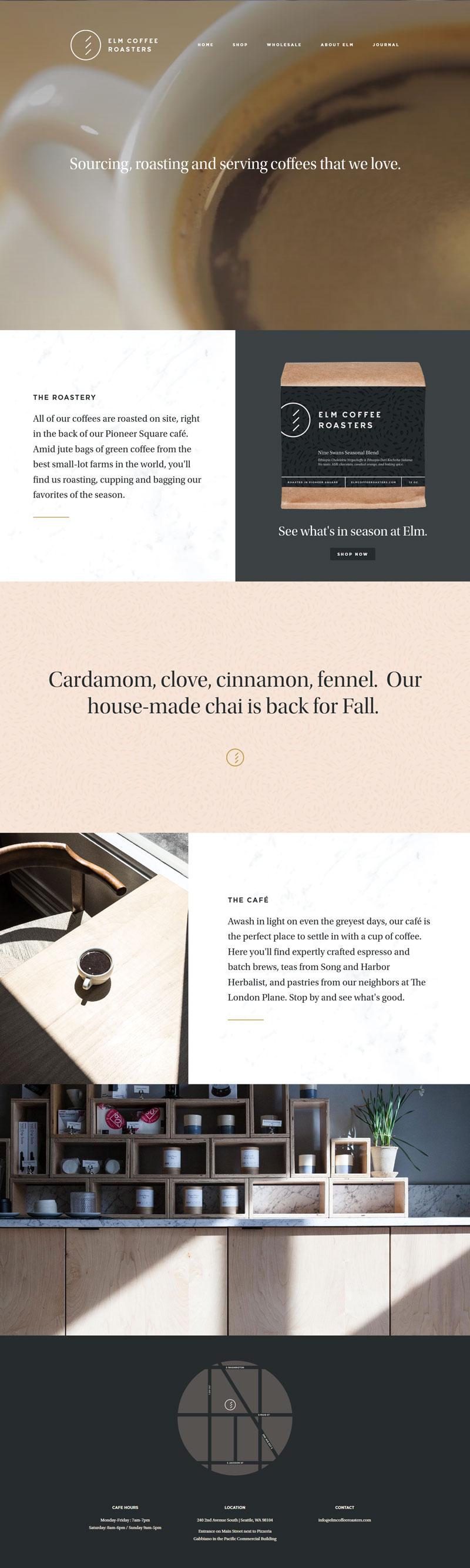 Elm Coffee Roasters With Images Web Design Inspiration Flat Web Design Web Design