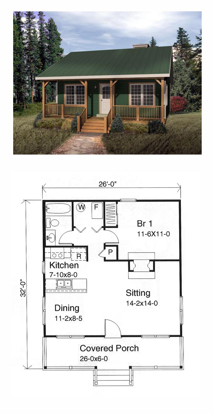 Tiny House Plan 49119 Total Living Area 676 Sq Ft