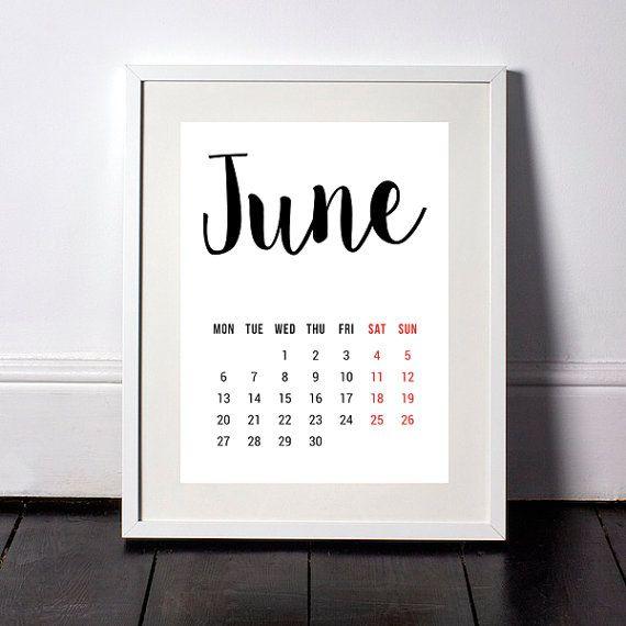 June  Calendar Printable Calendar Monthly Planner Calendar