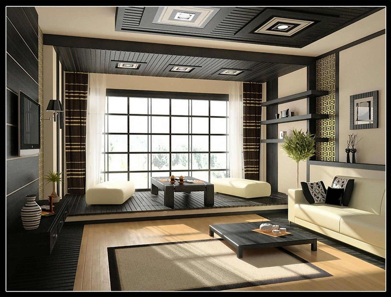 Anese Living Room Interior Design Modern Style Cream And Black Color Scheme