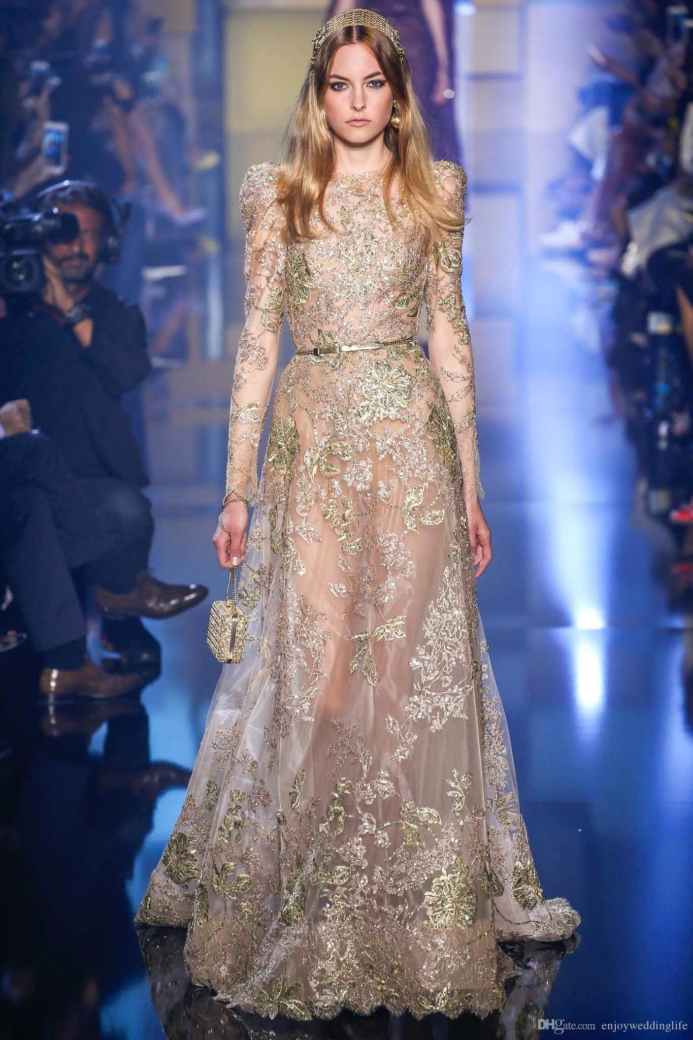 2016 Elie Saab New Sheer long Sleeves Evening Dresses Lace Beaded ...