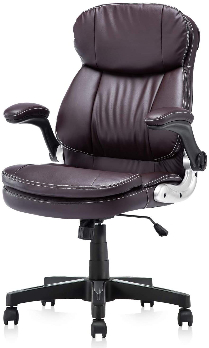 Kerms High Back Pu Leather Executive Office Chair Adjustable Recline Locking Flip Up Arms Computer Office Chair Brown Leather Office Chair Black Office Chair Office chairs with back support