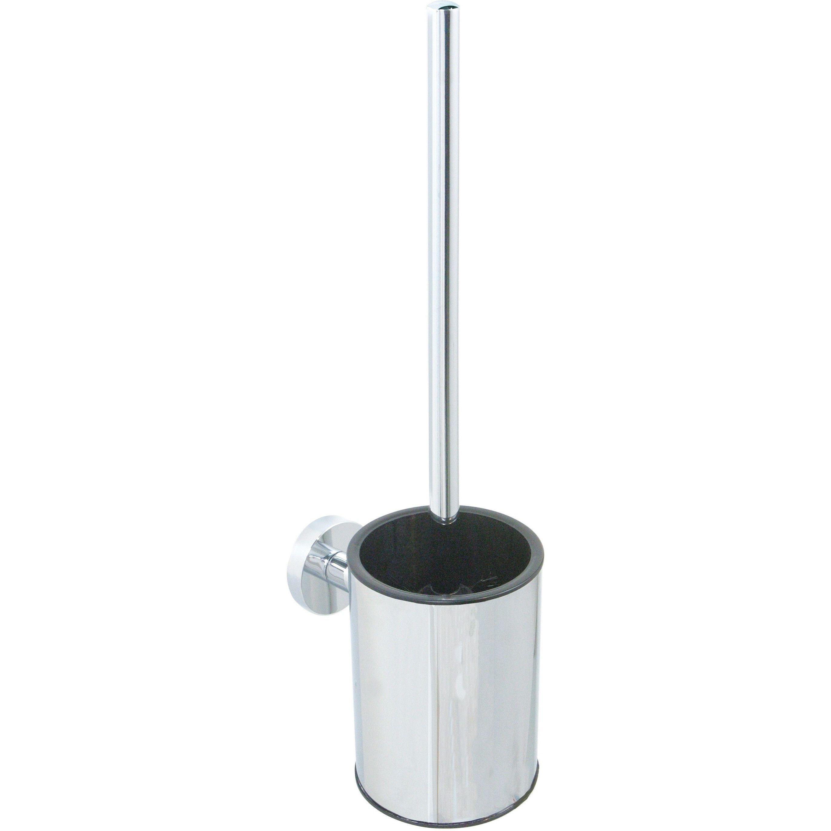 Br Varuna Wall Mounted Round Chrome Toilet Brush Bowl Holder Set