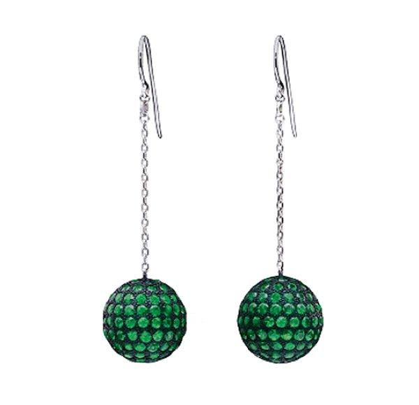 Solange Azagury-Partridge Mirror Ball Earrings in 18ct blackened white gold and emeralds