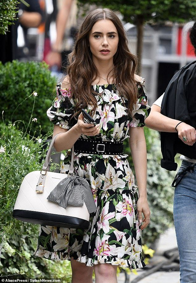 Lily Collins looks chic in two ensembles for Emily In Paris filming #lilycollins