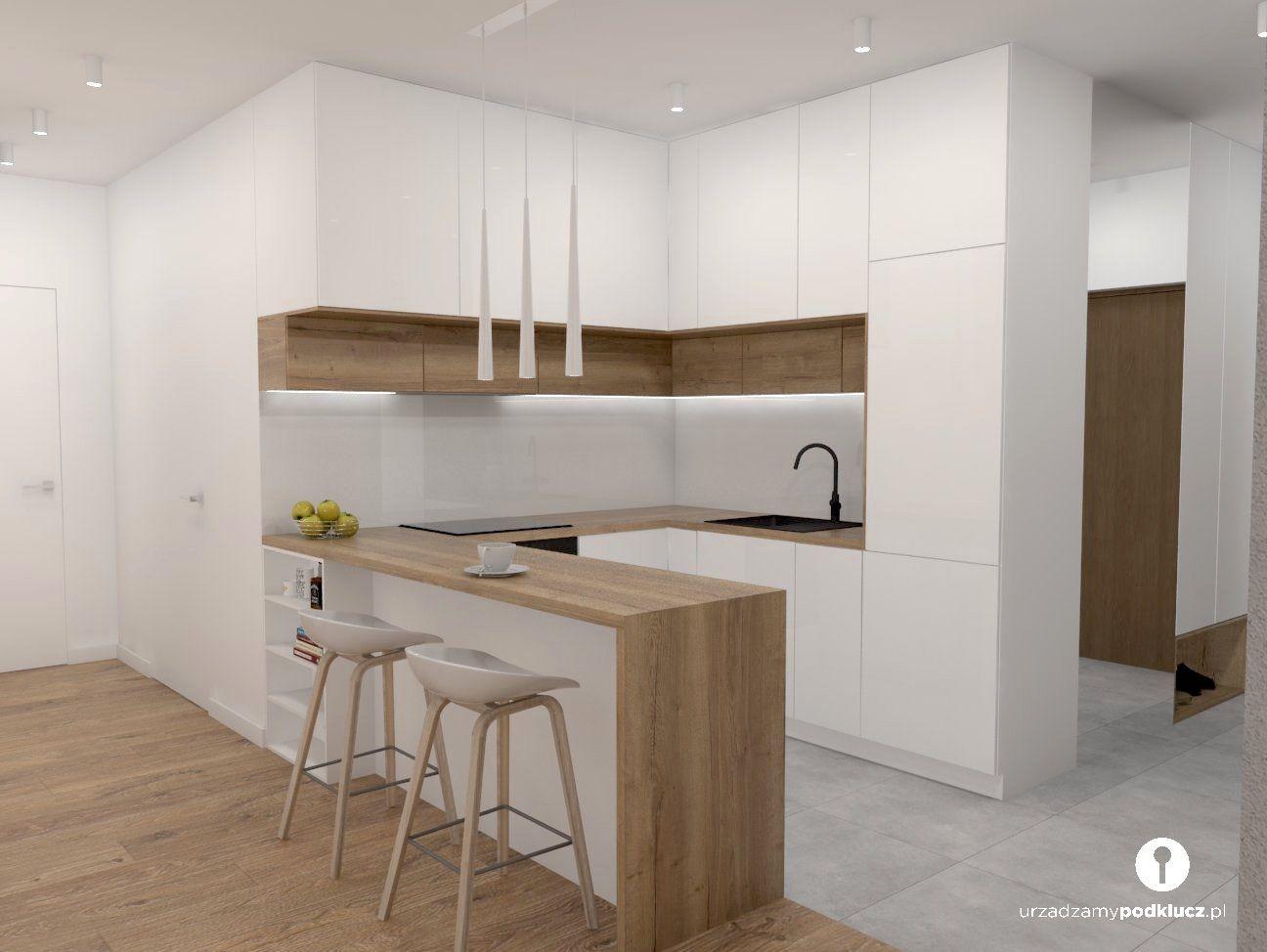 Biala Kuchnia Bialo Drewniana Kuchnia Kuchnia Otwarta Na Salon Kitchen Room Design Kitchen Inspiration Design Modern Kitchen Cabinet Design