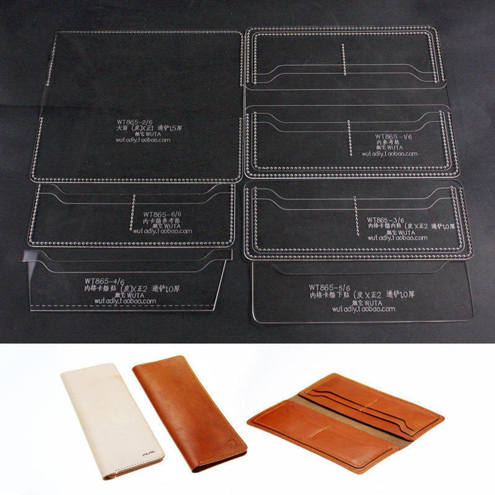 8 Slot Long Wallet Acrylic Leather Template Sets Leathercraft