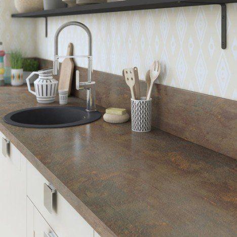 Plan de travail stratifié Effet cuivre Mat L315 x P65 cm, Ep38 mm - plan de travail de cuisine