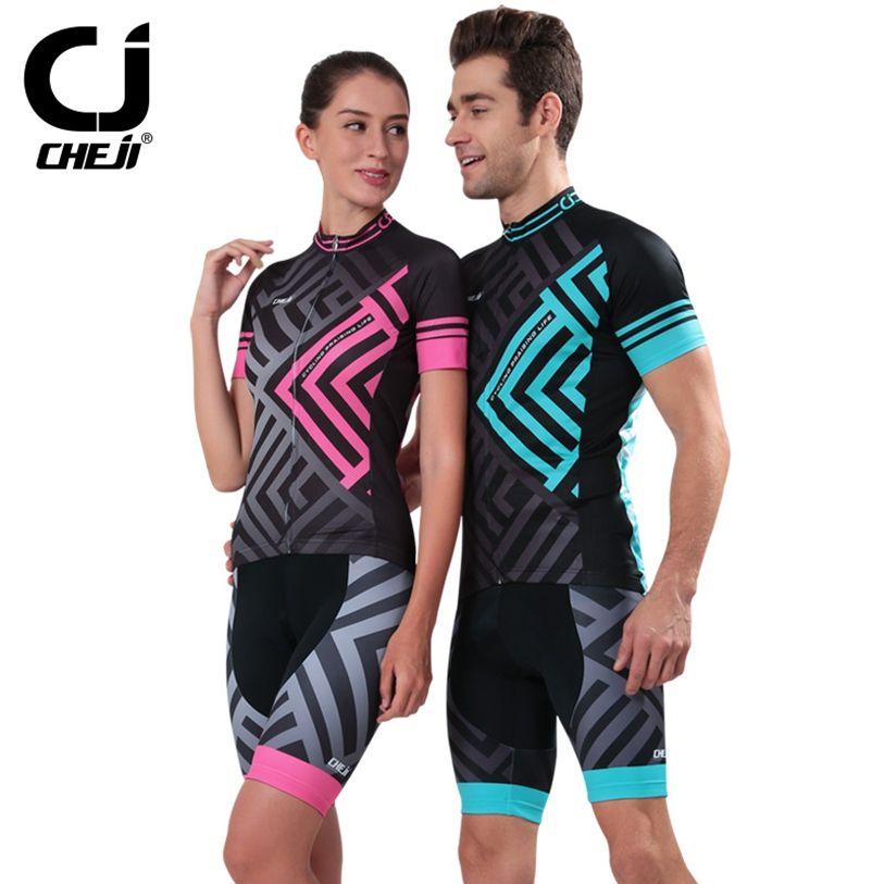 Hot Cheji Green Pink Mtb Bike Jerseys Bib Shorts Sets Men Women