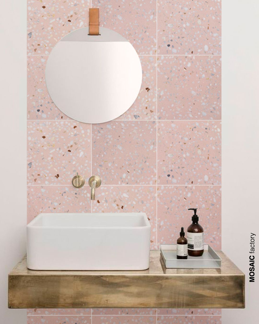 Pink bathroom wall tiles from the Mosaic Factory TERRAZZO MARBLE 5 collection. The co …