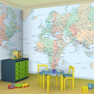 Children world map wallpaper for childrens homework room for children world map wallpaper playroom gumiabroncs Gallery