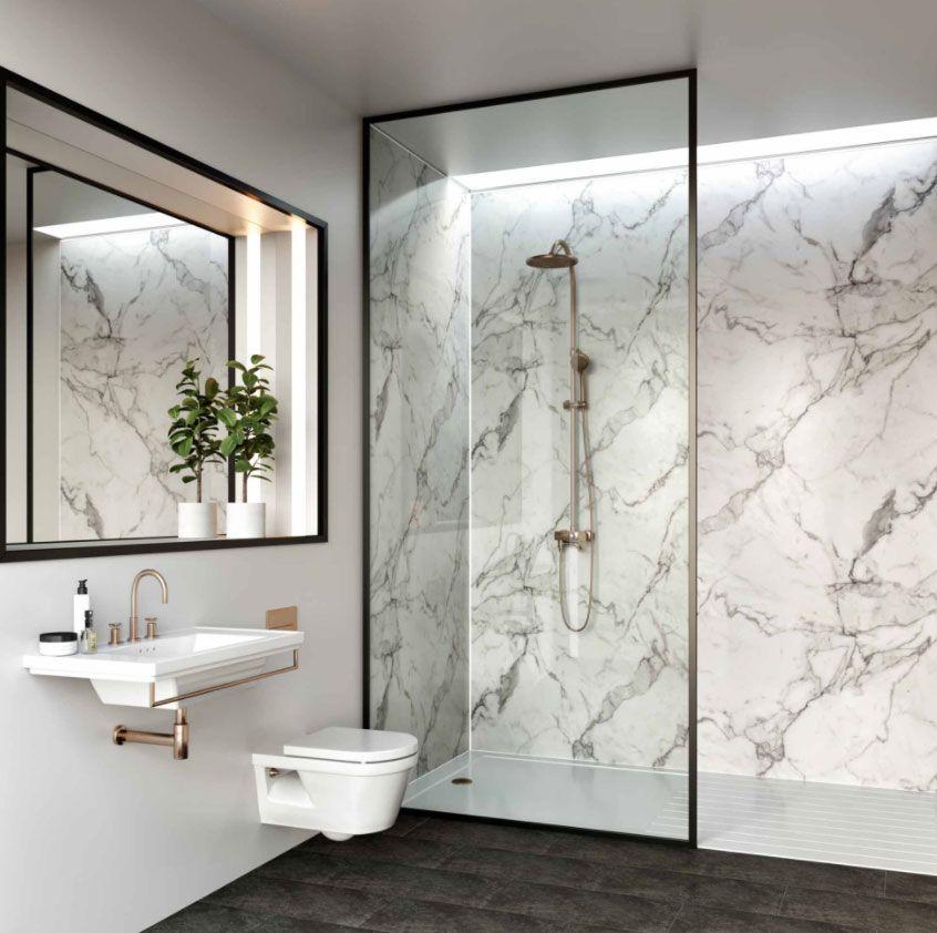 Multipanel Linda Barker Calacatta Marble Hydro Lock Tongue Groove Bathroom Wall Panel Bathroom Wall Panels Calacatta Marble Bathroom Bathroom Interior Design