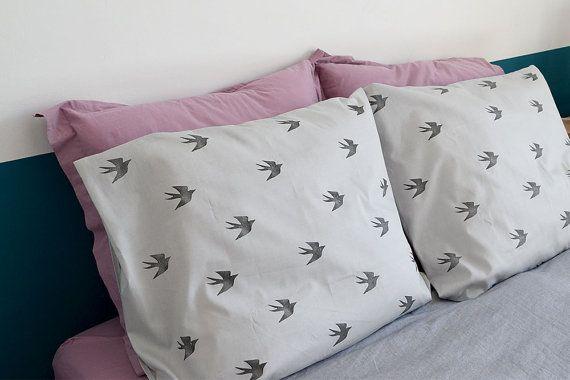 PILLOW CASES SET  bedding  Swallows Original Pattern  by FaroStore