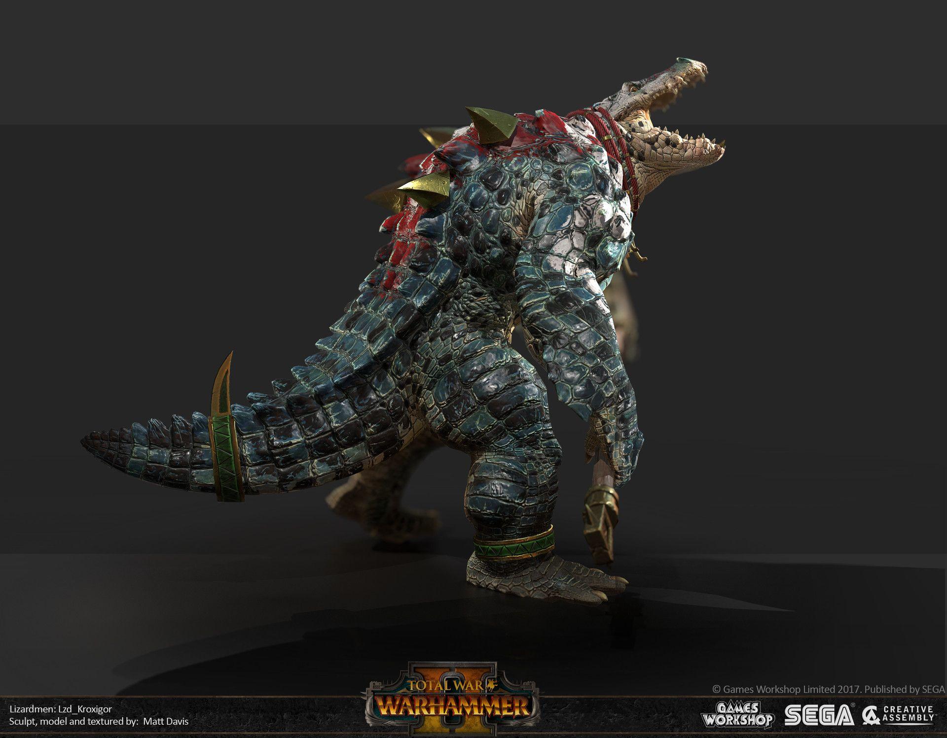ArtStation  Total War Warhammer 2 Kroxigors Matthew Davis  charactermonster3D