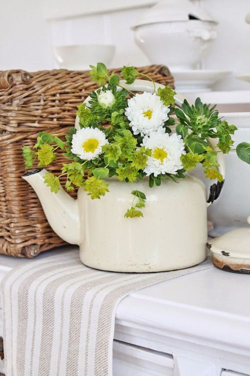 Flower Arrangement - green, white - in old kettle