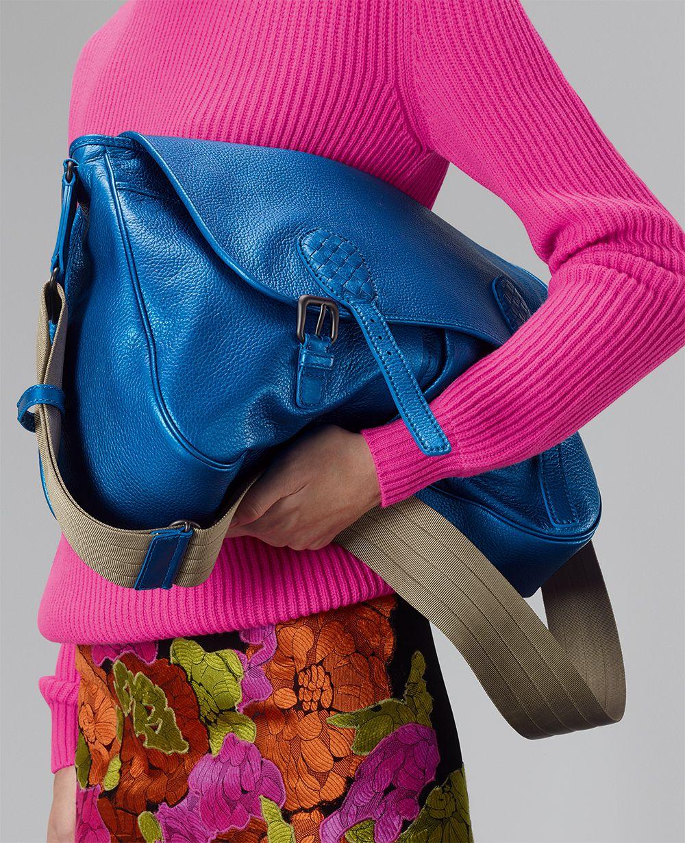 Bottega Veneta Signal Blue Intrecciato Nappa Gardena Bag  6625e6757fc5a