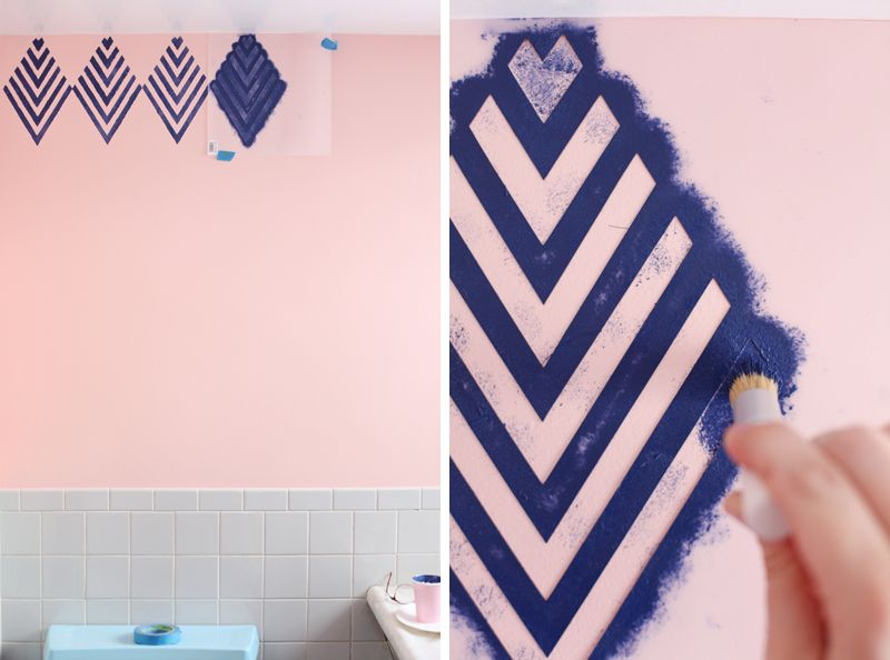 Create A Wallpaper Look With A Geometric Stencil