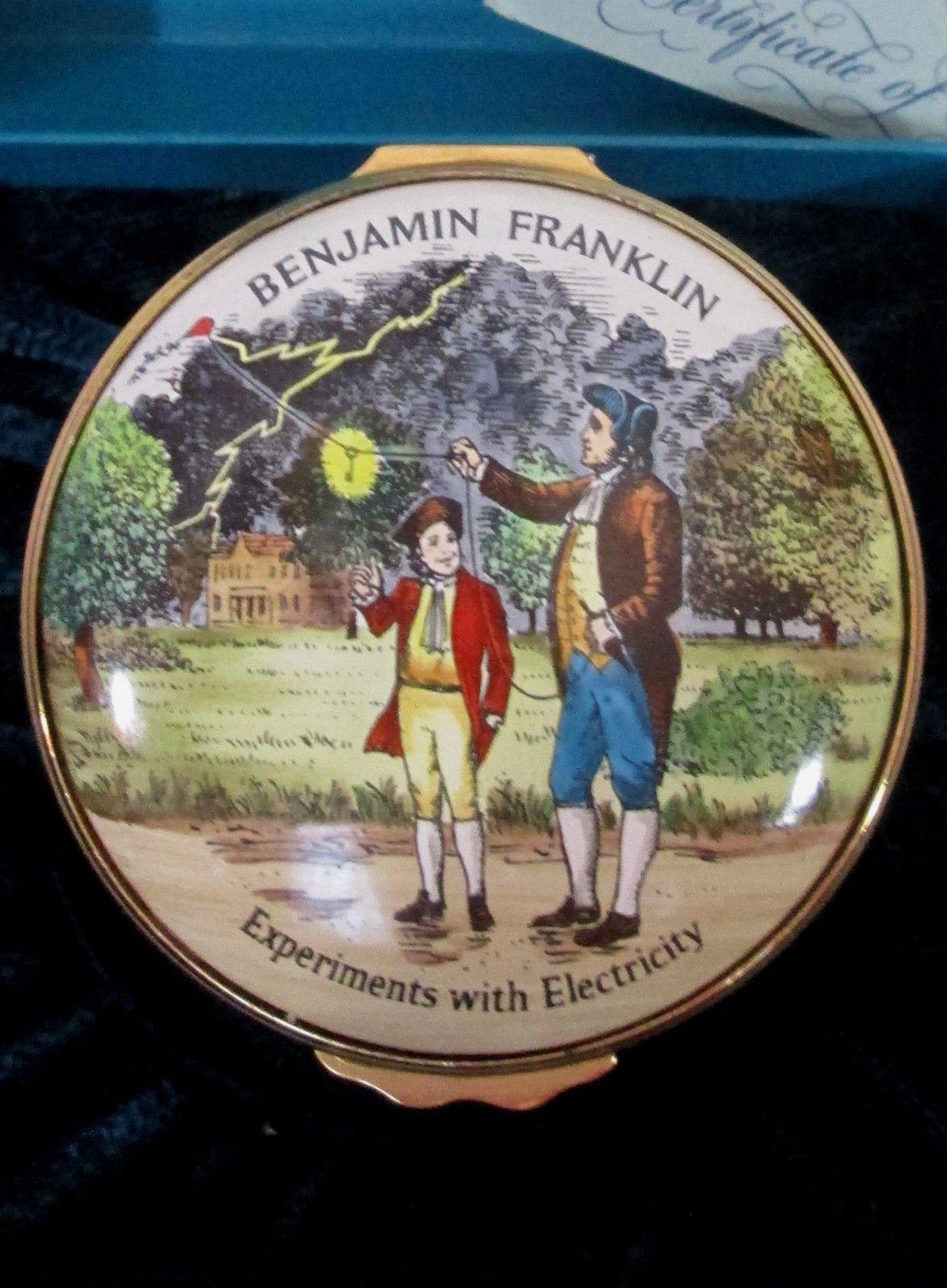 Halcyon Days Enamel Box Benjamin Franklin Experiments With