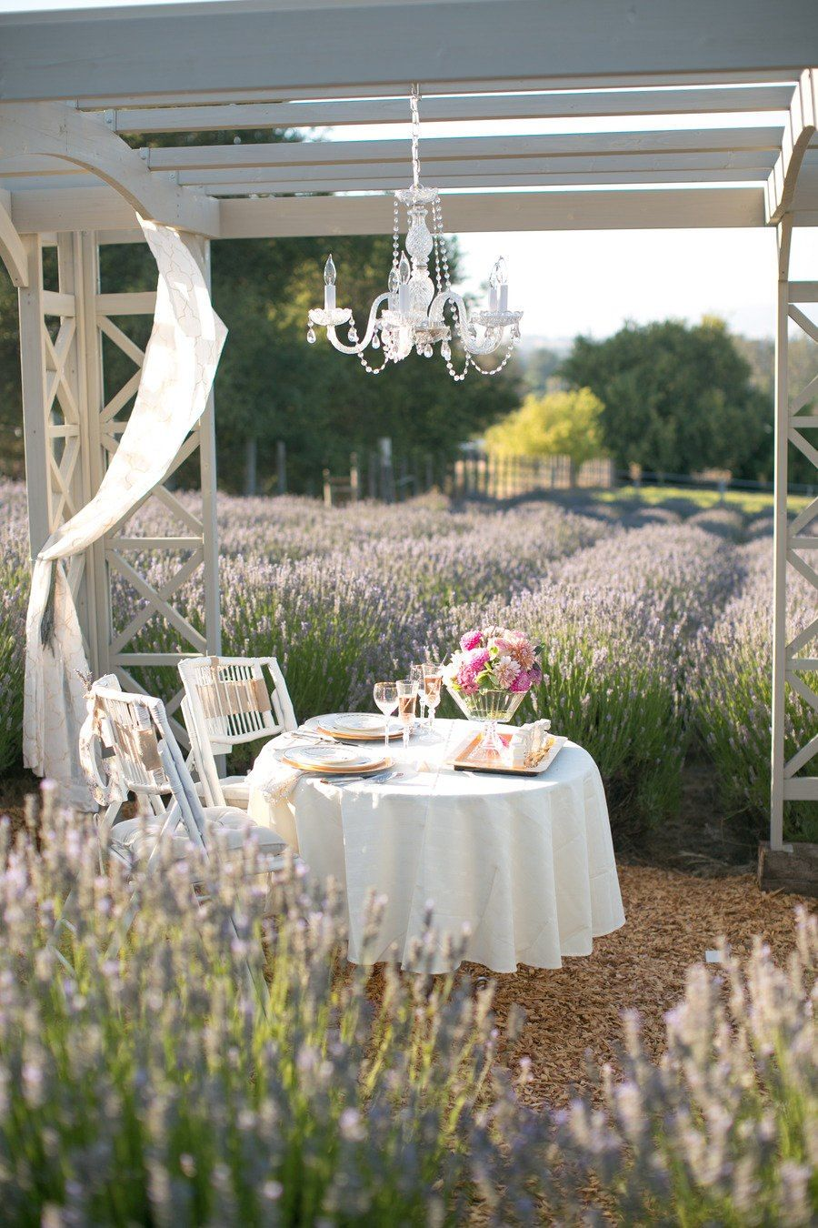 just a lovely table set amongst a field of lavender with a glittering chandelier powered by fairy dust - no biggie