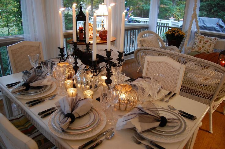 Elegant Table Settings Found on betweennapsontheporchblogspot - elegant halloween decorations