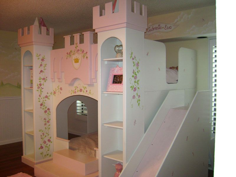 Castle beds for girls princess mural murals kids mural for Castle kids room