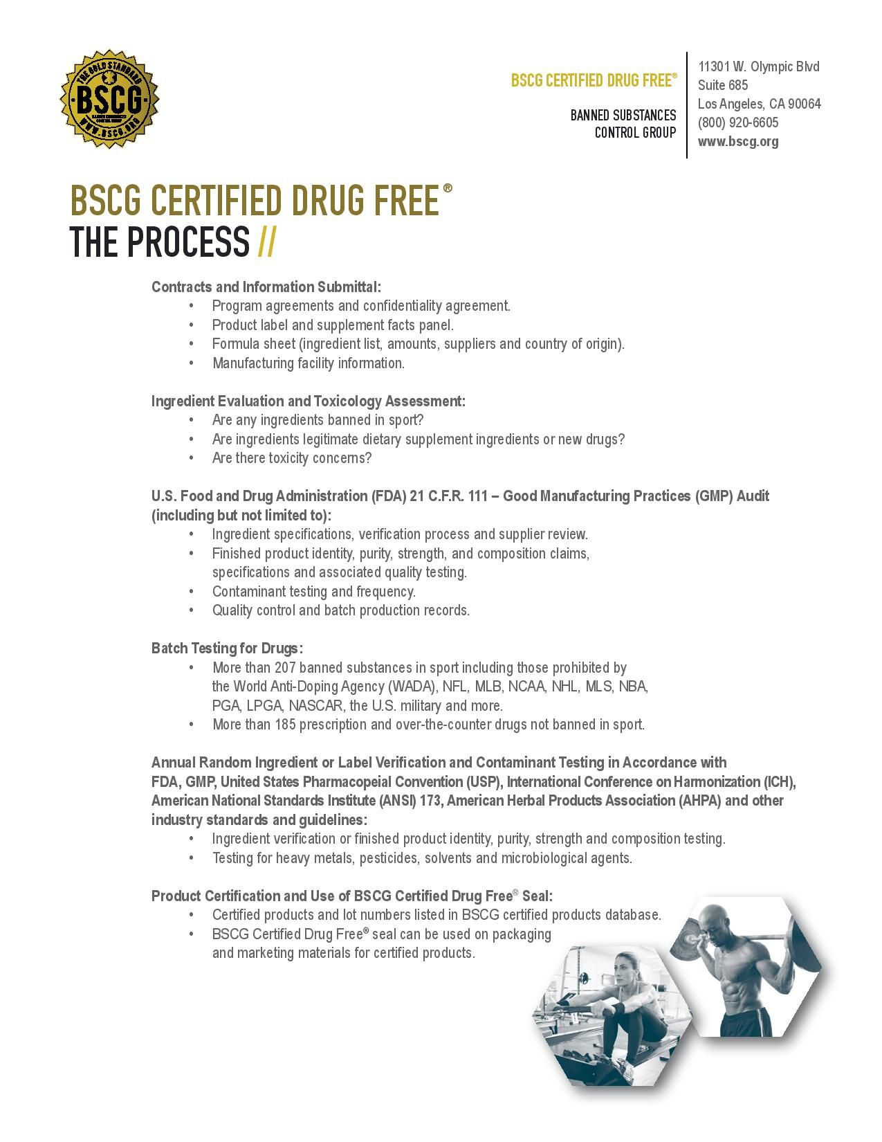 Bscg Certified Drug Free Product Certification Process