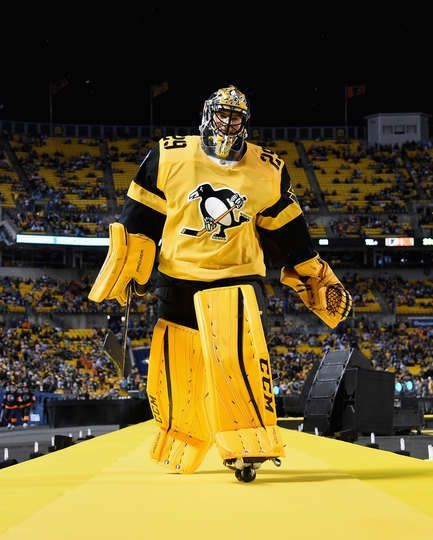 Marc Andre Fleury Strutting The Catwalk In His Yellow Pads And Penguins Jersey Sooo Pittsburgh Penguins Goalies Pittsburgh Penguins Pittsburgh Penguins Hockey