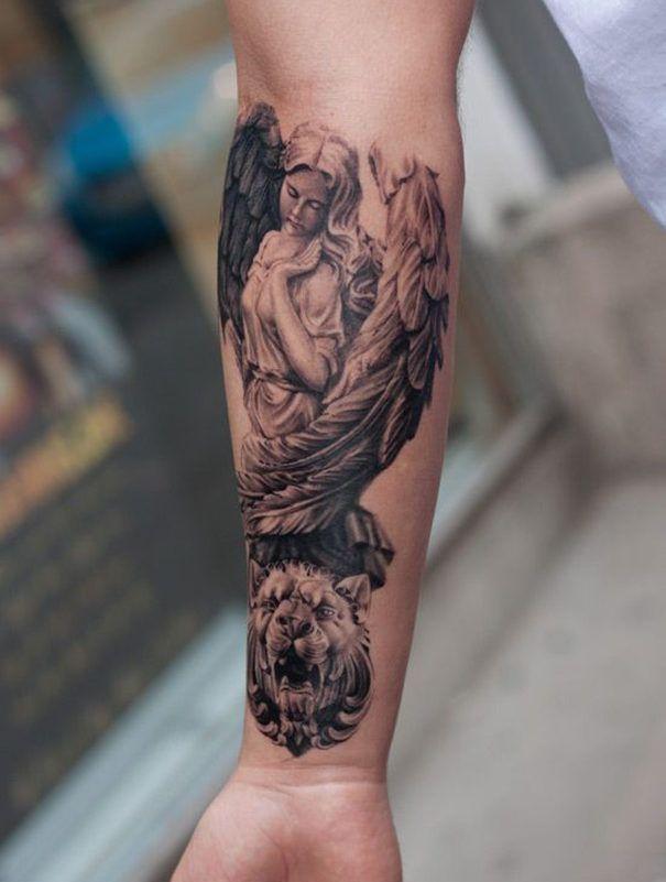 Tattoo unterarm frau engel