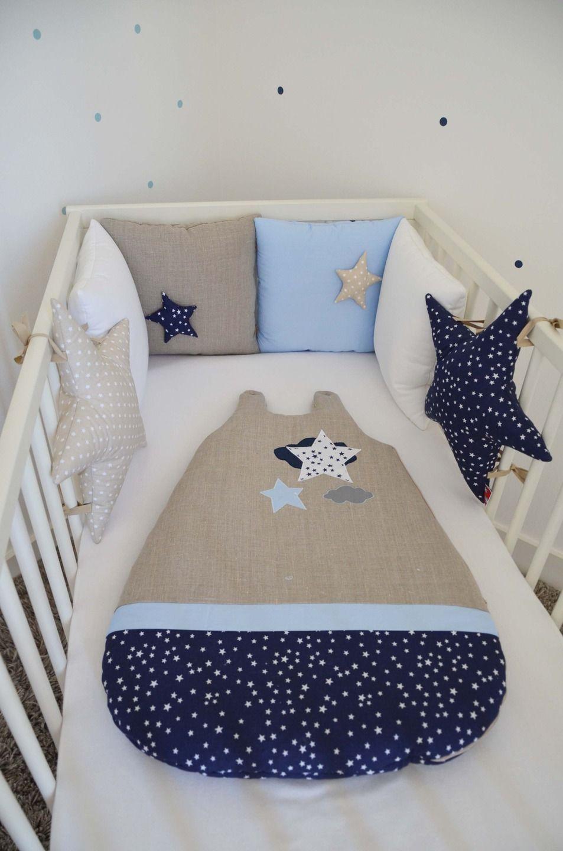 """Chambre Bleu Ciel Et Lin tour de lit """"la tête dans les étoiles"""" en lin et coton, bleu"""