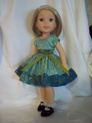 """Teal Rhinestone Bow Dress Shoes Fits Wellie Wishers 14.5/"""" American Girl Clothes"""