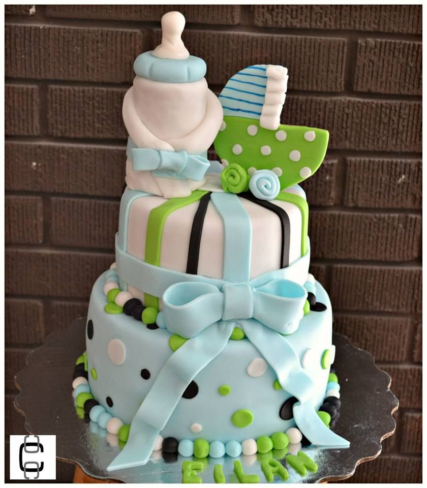 Baby Boy Baby Shower Cake / Fondant Baby Shower Cake With Tenis/ Blue And  Green