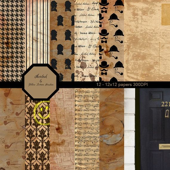INSTANT DOWNLOAD- Vintage old fashion style Sherlock Holmes Digital Scrapbooking Paper Pack backgrounds, 12″x12″, 300 dpi .jpg