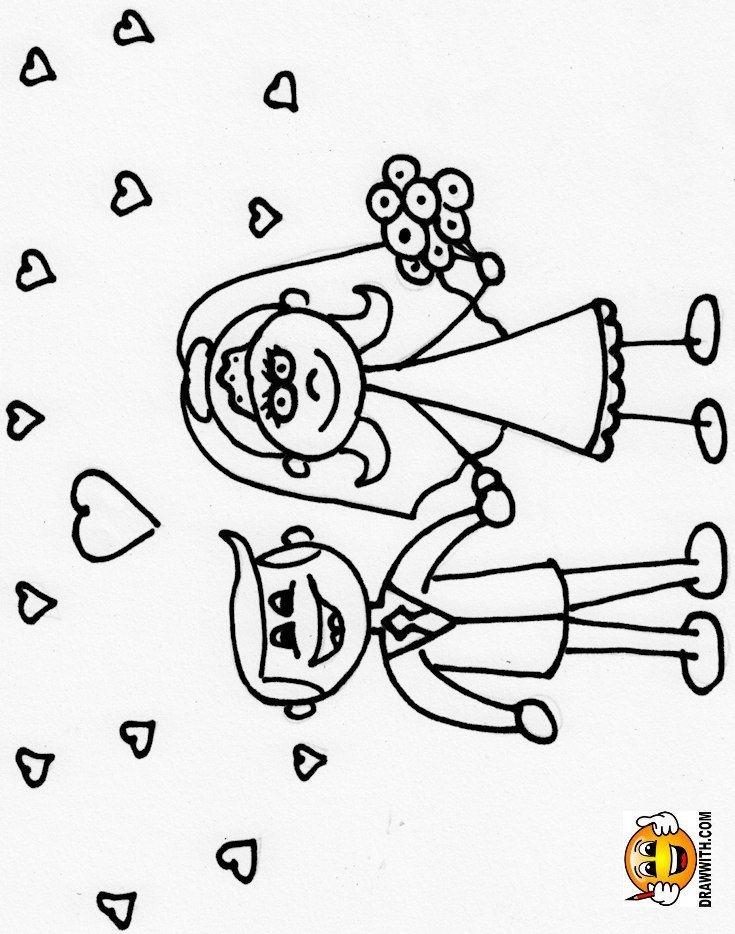 Free Bride And Groom At Wedding Coloring Pages For Kids Which Includes A Color Along Video Tutori Wedding Coloring Pages Coloring Pages For Kids Coloring Pages