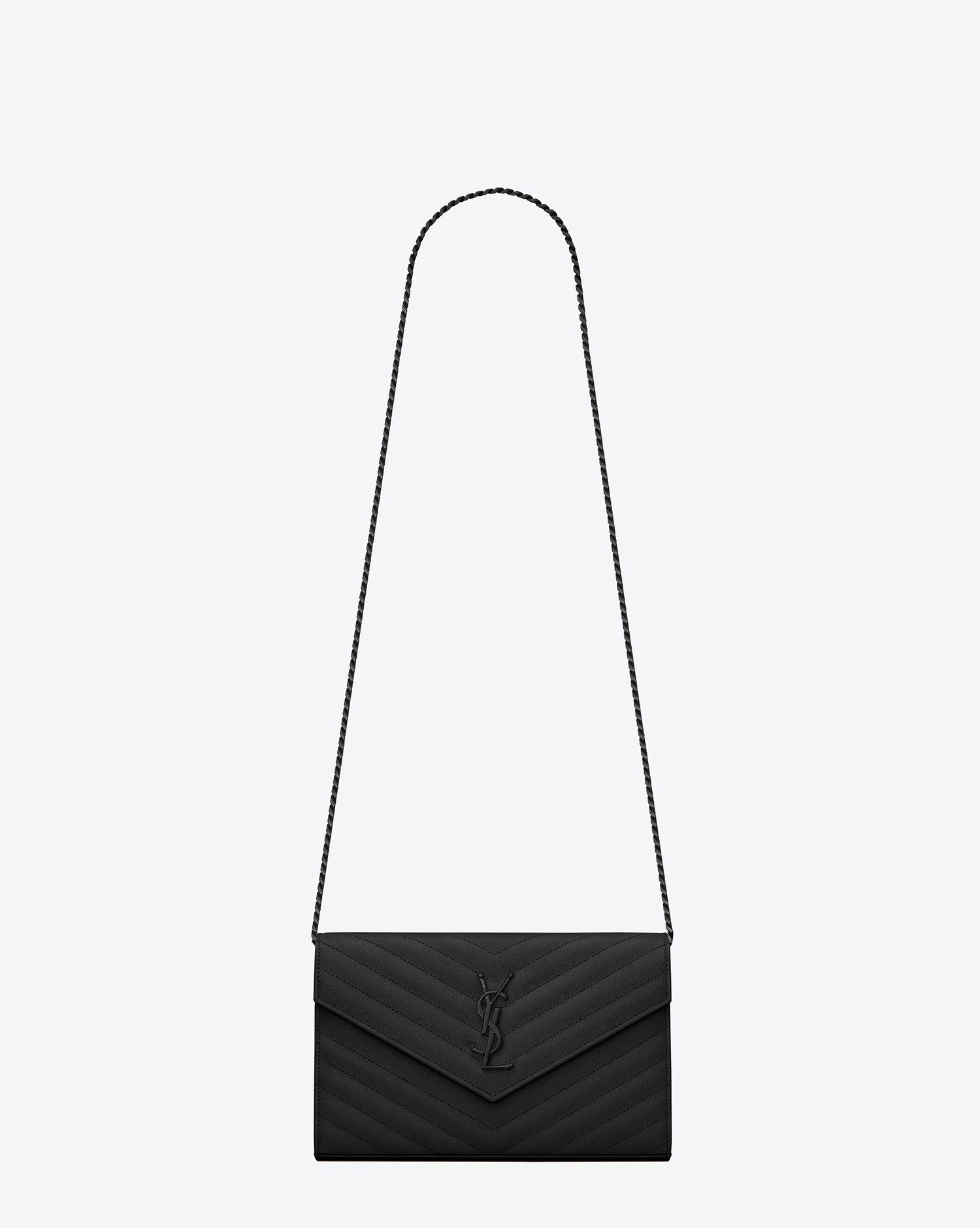 7aa08fa904c Saint Laurent MONOGRAM SAINT LAURENT CHAIN WALLET IN Black GRAIN DE POUDRE  TEXTURED MATELASSÉ LEATHER   ysl.com