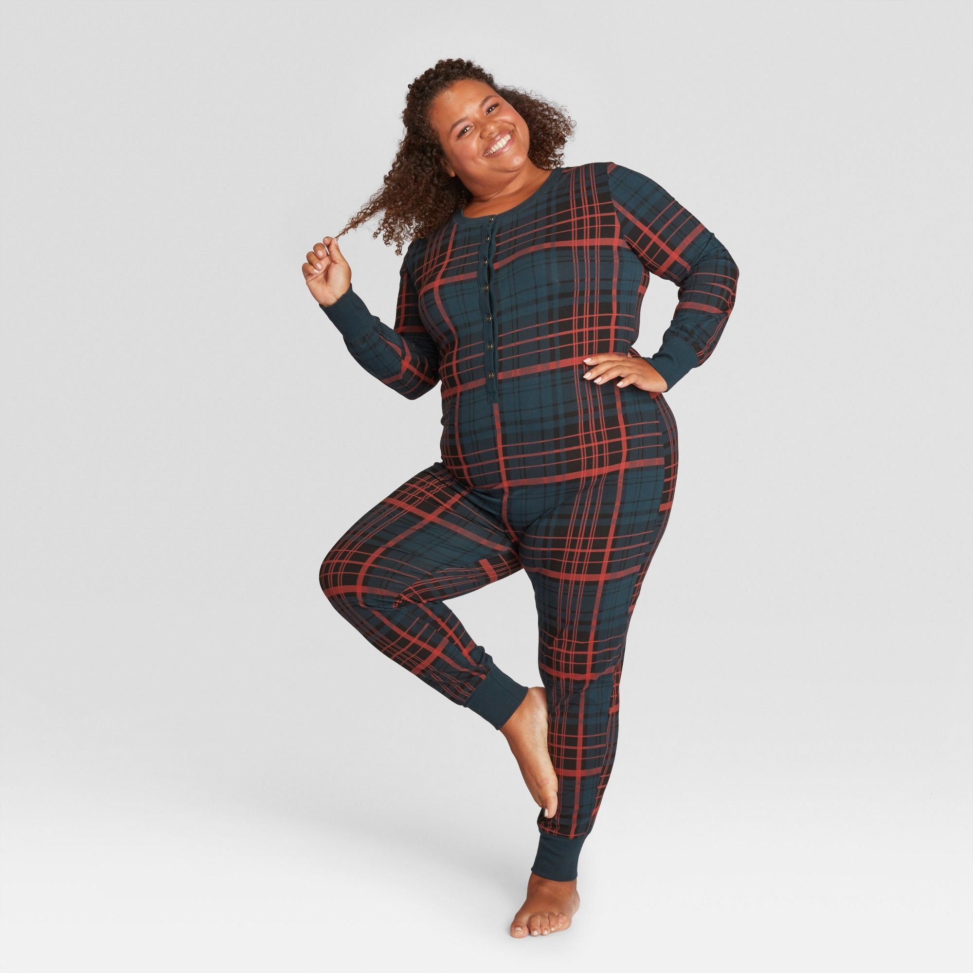 806fe79a26 Women s Plaid Holiday Pajama Union Suit - Blue 3X - Hearth   Hand with  Magnolia