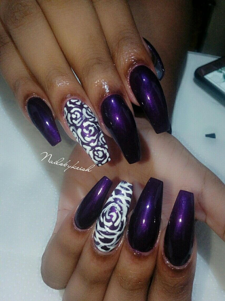 Dark purple nail with Rose nail art accents nails simple ...